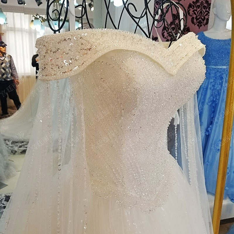 Luxury High-grade Crystal Beading Lace Wedding Dress Custom Bride Princess Embroidery Boat Neck A-line Wedding Gown Trouwjurk
