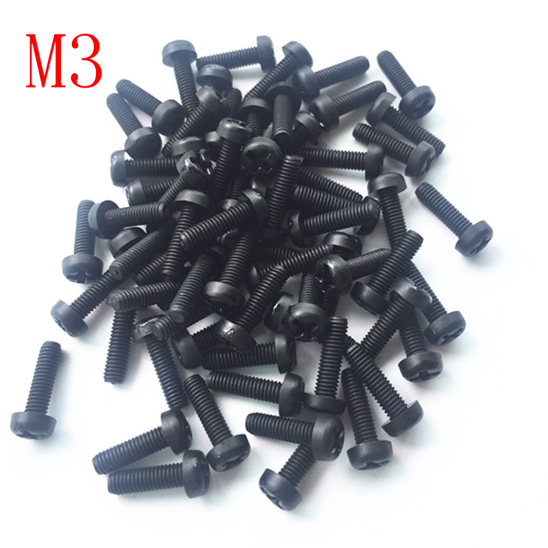 Free shipping <font><b>1000pcs</b></font> <font><b>M3</b></font> Plastic Nylon Cross screw Insulating Round head Philips screw image