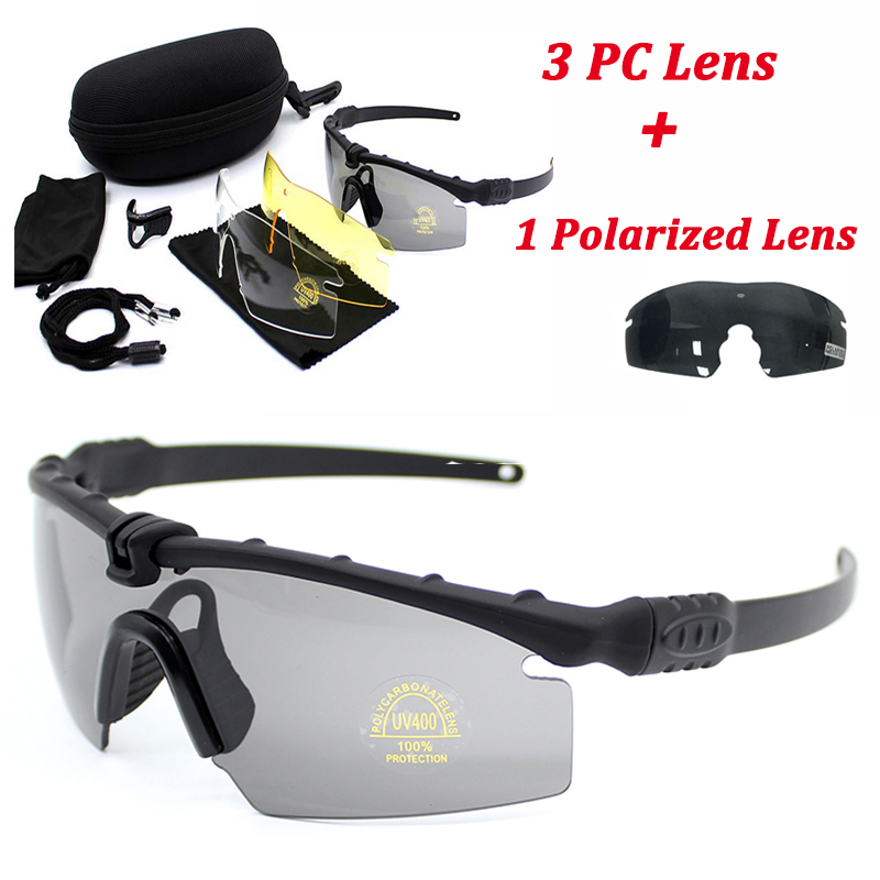 Tactical Goggles Polarized Sport Glasses Men Outdoor Hunting Shooting Sunglasses Military Army Glasses 4 Lens Kit