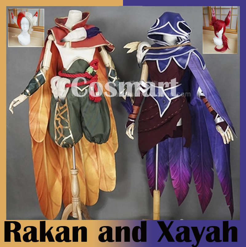 [Customize]+Wig Game LOL New CP Heros Xayah and Rakan Birdmen Uniform New 2018 Halloween Cosplay costume Free ship free ship hot new blonde mixed cosplay split type wig and with 2 pigtails