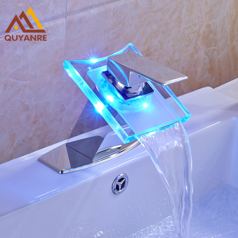 Captivating Free Shipping LED Light Changing Bathroom Sink Faucet Waterfall Outlet With  6 Inch Cover Plate Mixer