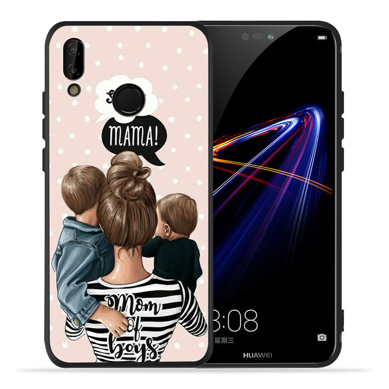 Image 2 - Luxury Baby Mom Queen For Huawei P8 P10 P20 P30 Mate 10 20 V20 Honor 8 8X 8C 9 10 Lite Plus Pro Case Cover Coque Etui Funda Cute-in Half-wrapped Cases from Cellphones & Telecommunications