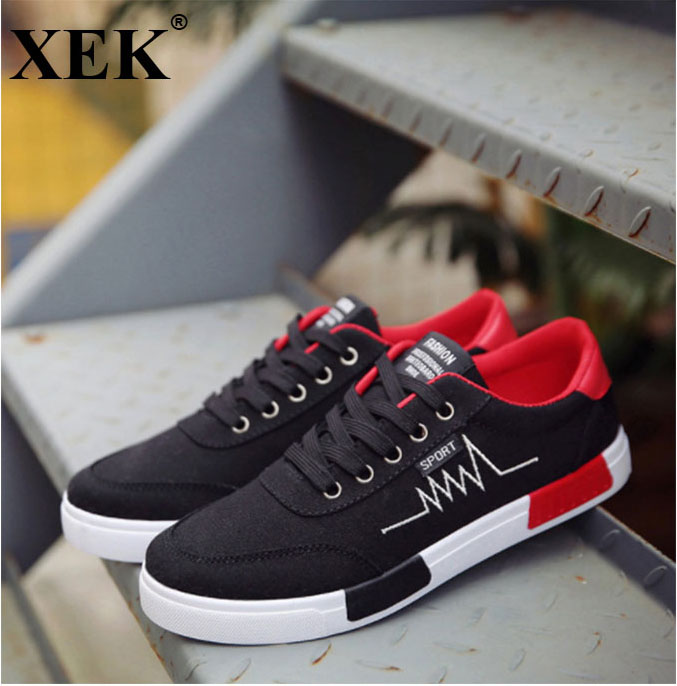 XEK 2018 Fashion Men Vulcanized Shoes Sneakers Lace-up Casual Shoes Breathable Walking Canvas Shoes Graffiti Flat ZLL20 e lov women casual walking shoes graffiti aries horoscope canvas shoe low top flat oxford shoes for couples lovers