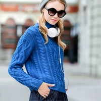 JECH 2018 Spring Autumn Winter Women Cashmere Wool Short Sweaters Korean Turtleneck Short Solid Casual Pullovers Knitted Jumper