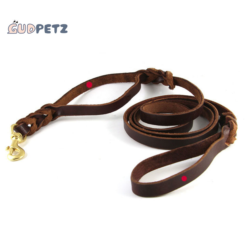 Braided Dog Leash 100 Cow Leather Dog Rope With Two