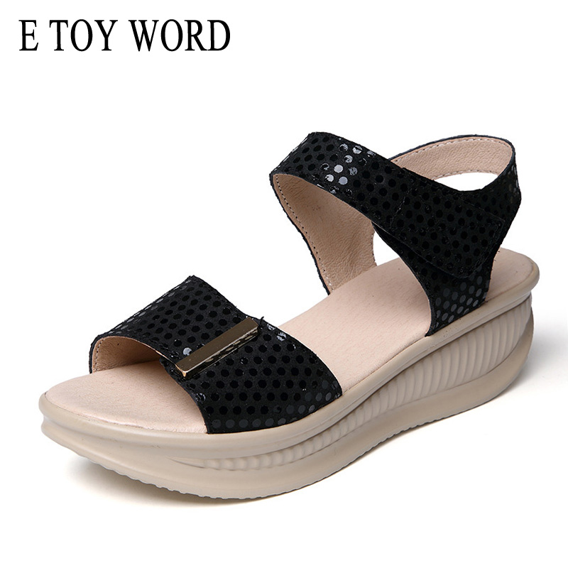 E TOY WORD Platform Wedge sandals womens shoes 2018 summer comfortable leather casual open toe Women's sandals sandalias e toy word summer platform wedges women sandals antiskid high heels shoes string beads open toe female slippers