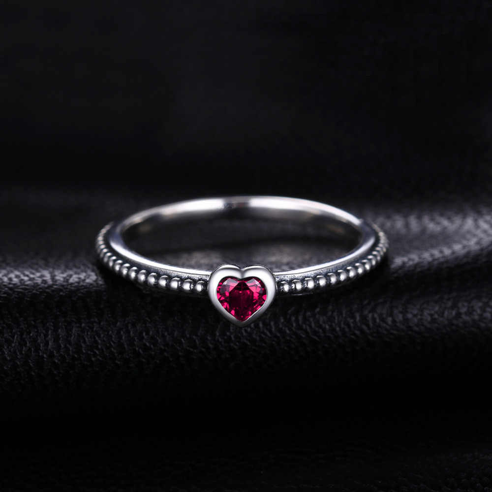 2160725874 ... Jewelrypalace Love Heart Birthstone Created Rubies Stackable Ring 925  Sterling Silver Ring Women Fashion Engagement Ring ...