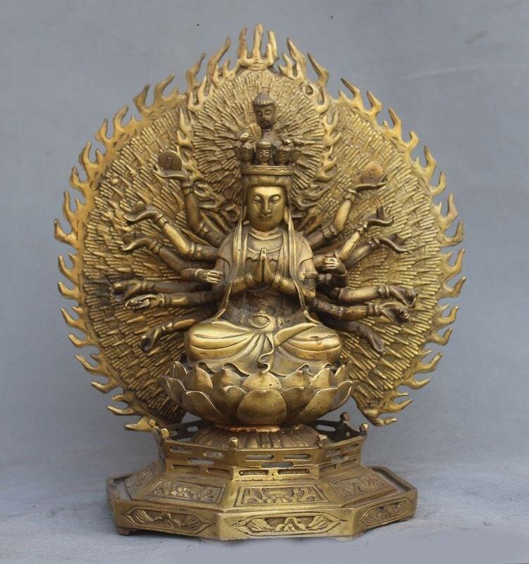 Christmas Tibet Buddhism Joss Pure Brass 1000 Arms Avalokiteshvara Kwan-yin GuanYin Statue Halloween
