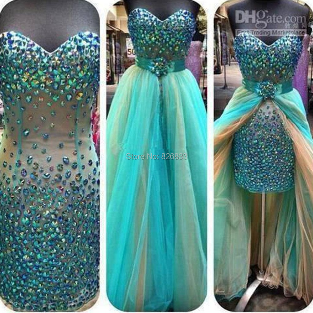 6d83cfbcd1d1c Luxury Crystal Beaded Sweetheart Bodice Corset Turquoise Prom Dress ...