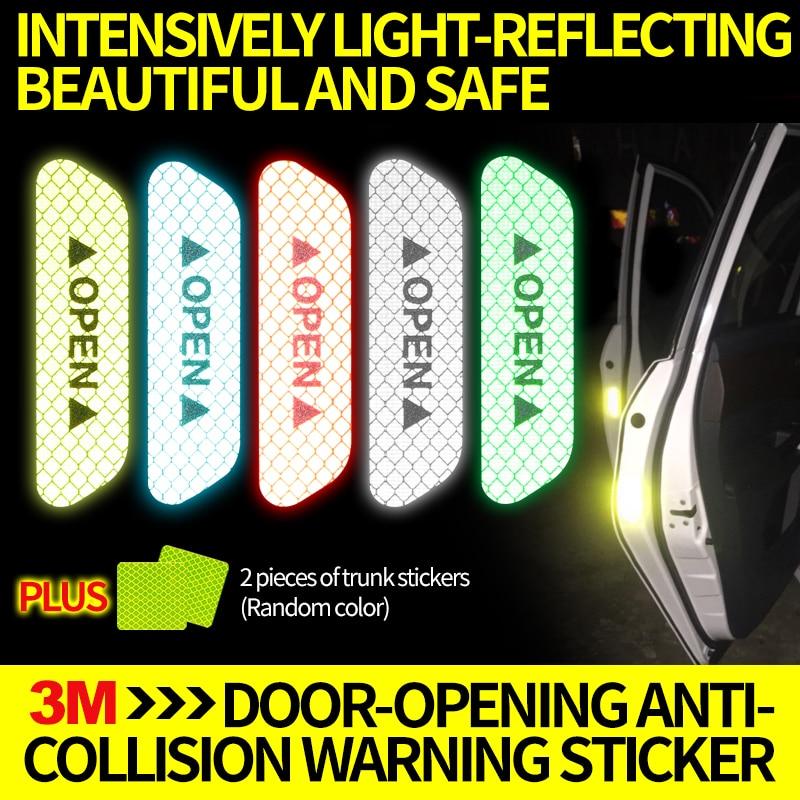 3M auto door opening safe reflective sticker door opening warning anti collision bar refitting auto body