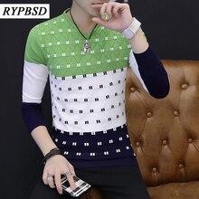 2017 Spring Autumn Pullover Men V Neck Sweater Long Sleeve Korean Slim Fit Sweater Men Knitwear Pull Homme Men Jumpers Sweaters