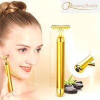 顔リフティング痩身整形スキン締め付けy形状24 k振動ゴールドエナジービューティーバーローラースティック美顔器マシ
