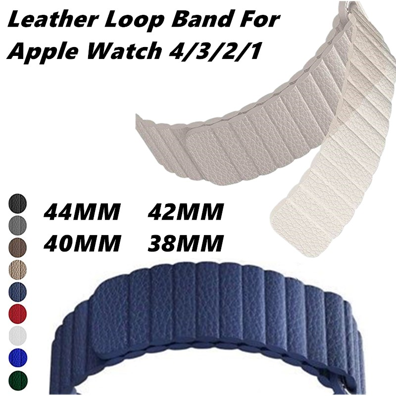 Genuine Leather Loop Band For Apple Watch 4 44/40/42/38mm Adjustable Magnetic Bracelet Closure Strap Accessories For Iwatch3/2/1Genuine Leather Loop Band For Apple Watch 4 44/40/42/38mm Adjustable Magnetic Bracelet Closure Strap Accessories For Iwatch3/2/1