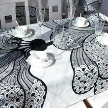Envío Libre Elegante Bohemia Comedor Moda Paño de Tabla Mantel Manteles de Cocina De Diseño Moderno Blanco Y Negro Del Partido