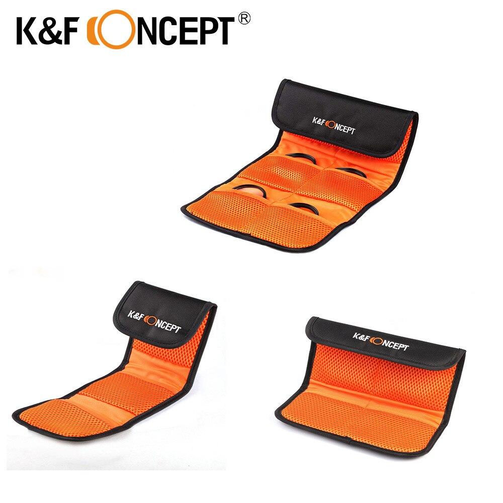 K & F concept filtro monedero 3/4/6 bolsillos bolsa para 49mm 52mm 55mm 58mm 62mm 67mm 72mm 77mm UV CPL FLD filtro titular bolsa