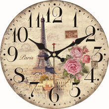 Shabby Chic Tower coffee Design Clock Silent Home Cafe Office Bar Decorative Watches Art Wall Vintage Large Gift
