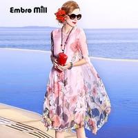 Dress party evening elegant lady casual fashion royal print floral lady loose plus size women summer pink silk beach dress M-3XL
