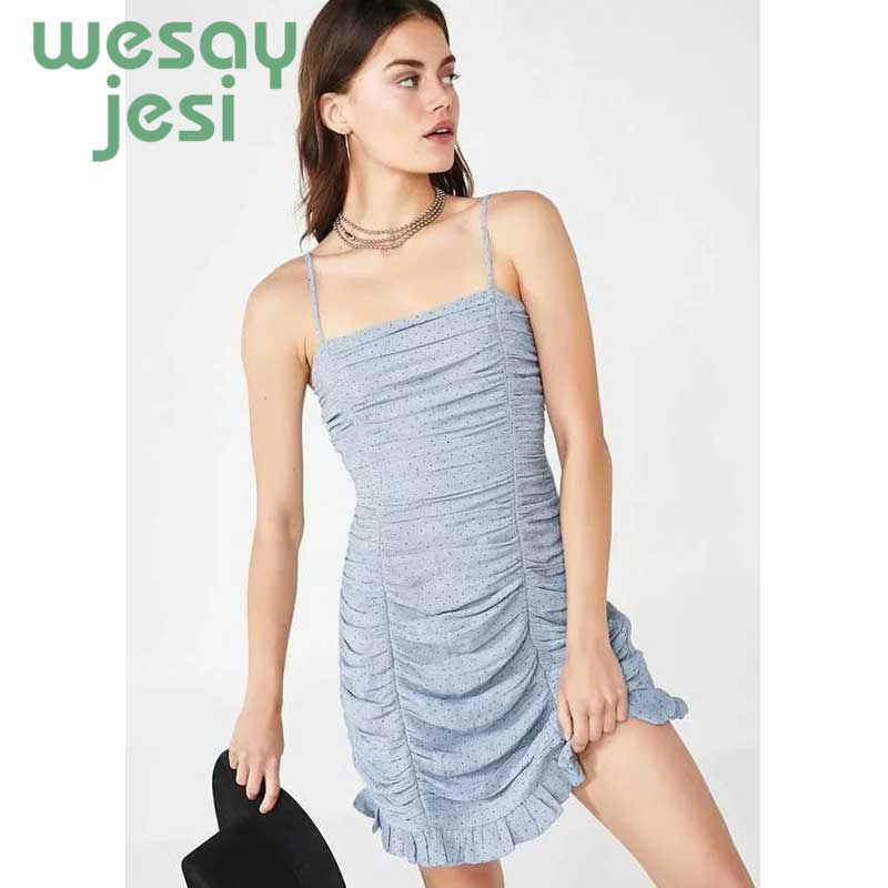 Wave Point Dress Ruffle Women 2019 Spring Summer New Fashion Street Sexy Casual Slim Thin Beach Party Mini Dress Vestidos in Dresses from Women 39 s Clothing