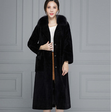 Women Winter Natural Real Lamb Fur Long Coat Warm Sheep Shearling Jacket With Genuine Fox Fur Collar Pocket Plus Size 161130-1