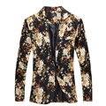 Moda 2016 nuevos hombres del diseño Floral Blazer traje chaqueta ocasional de la personalidad para hombre Blazer Slim Fit chaqueta hombres TOPS escudo MB028