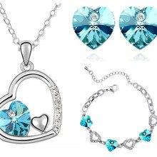 Кристалл сердце кулон ожерелье серьги женские аксессуары Подарки Прямая поставка Свадебные брендовые Ювелирные наборы вечерние Австрийские