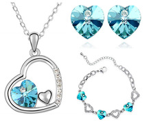 2014 Free Shipping wedding brand jewelry sets 18K Platinum plated  Austrian Crystal Heart pendant Necklace Earrings 83004 2018 new arrival exaggerated big necklace and earrings jewelry sets austrian crystal for wedding or party ethnic free shipping