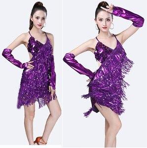 Image 2 - Traje de baile latino con lentejuelas para mujer, brillantes vestidos para fiesta, baile latino con flecos, Samba, Rumba, Tango