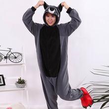 Cosplay Traje Adulto Dos Desenhos Animados de Animais Cinza Raccoon Onesie Unisex Macacão Pijama Cosplay Sleepsuit Sleepwear