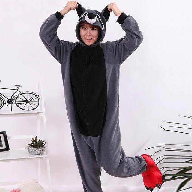 01bf84823bb9 Cosplay Traje Adulto de la Historieta Animal Gris Mapache Onesie Unisex Pijamas  Cosplay Sleepsuit Onesie ropa