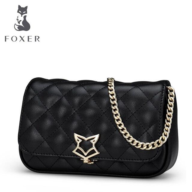 FOXER бренд 2017 Женская Мода кожаная сумка Сумки через плечо для Для женщин цепи Сумки девушка сумка подарок на день Святого Валентина
