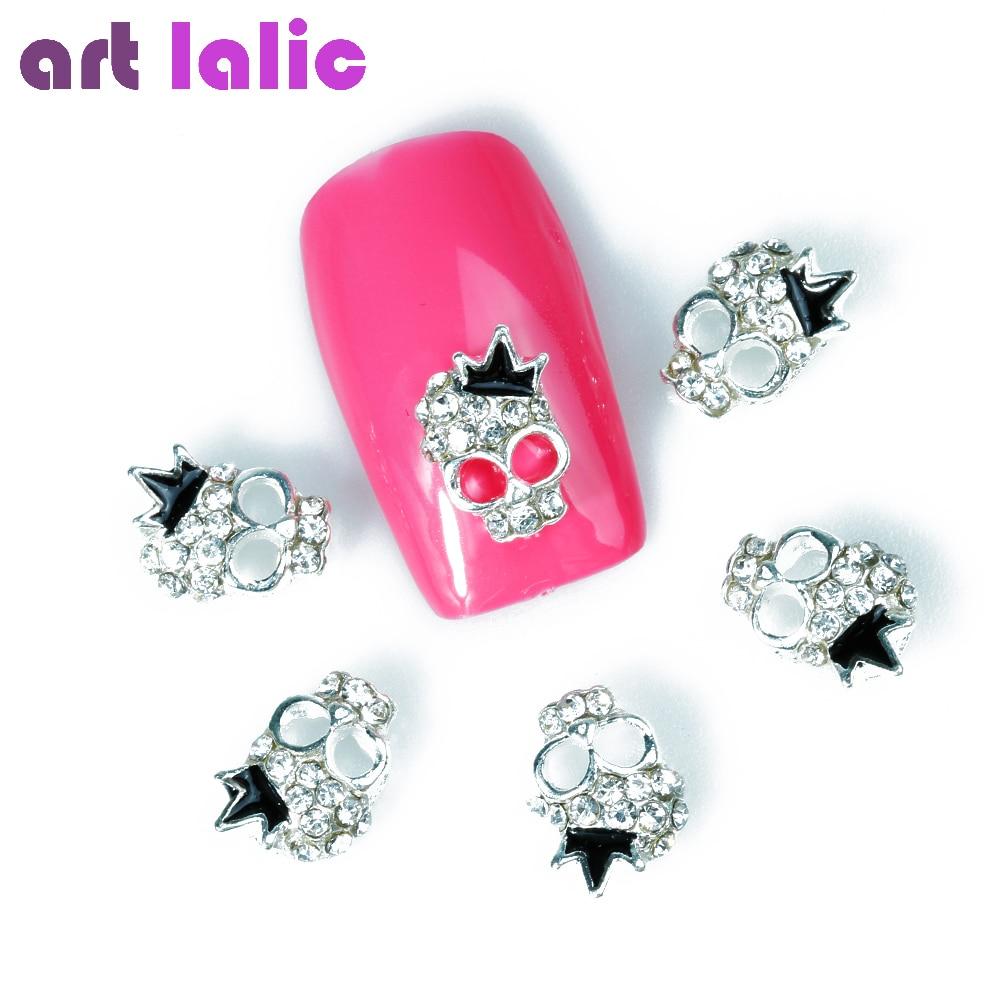 Artlalic 10Pcs Super Shine Silver Skull Crown Nail Tools Rhinestones Alloy Glitters DIY 3D Nail Art Halloween Decorations the silver crown