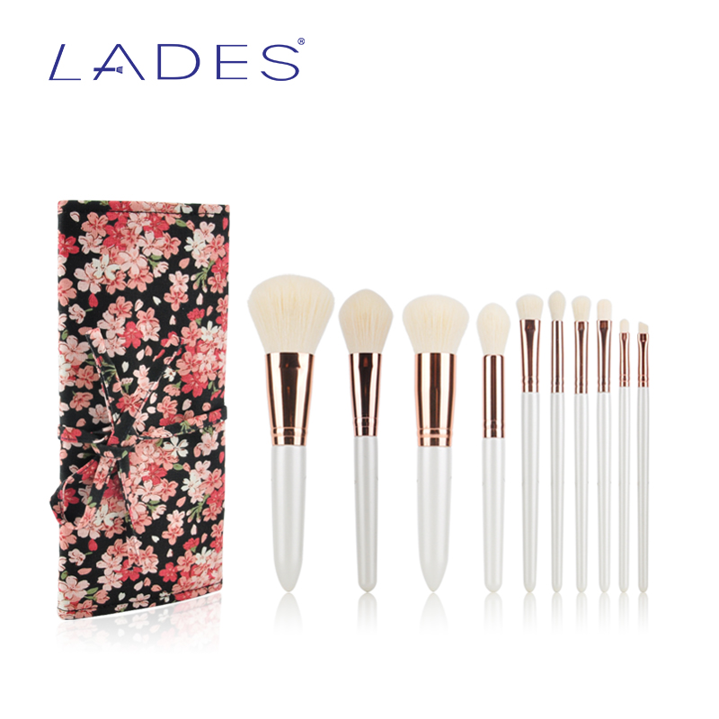 LADES 10pcs Professional Makeup Brush Set Powder Foundation Eyeshadow Lip Make Up Kit With Canvas Bag