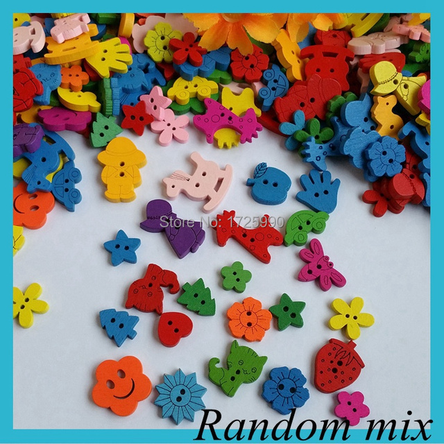 100pcs Colorful Cartoon Mix 2 Holes Wood Buttons Sewing Craft Scrapbooking Products Clothing Accessories botoes para artesanato