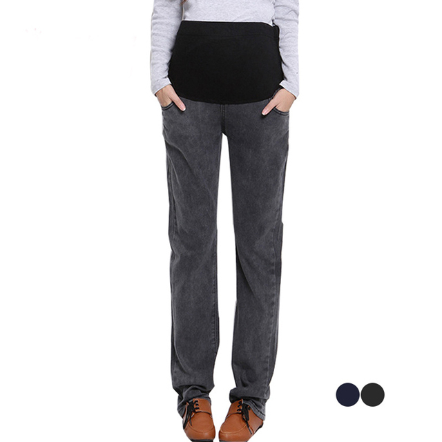 Natural cotton jeans trousers for pregnant women maternity clothes