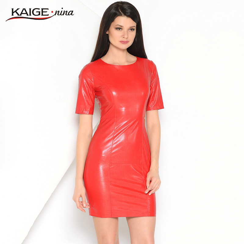 Kaige.Nina wanita Baru Gaun Pernikahan & PU Mode Warna Murni Gaya Lengan Pendek O-Neck Sheath Mini Autumn Dress 1615