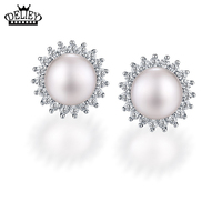 DELIEY 100 Genuine 925 Sterling Silver 8mm Natural Freshwater Pearl Stud Earrings For Women Party Fine