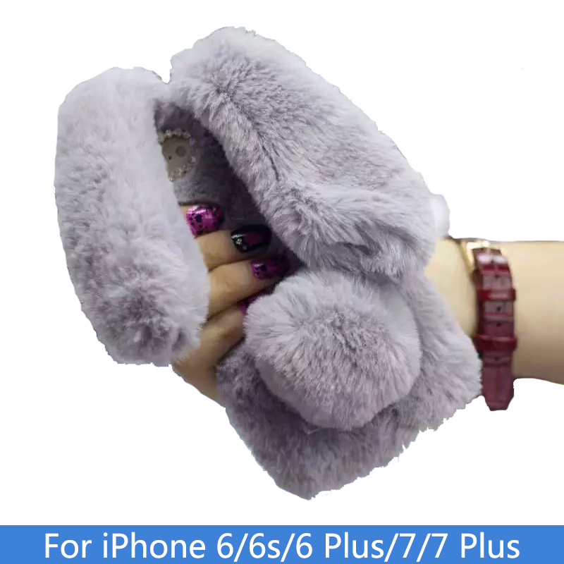 Cute Rabbit Doll Fur Ball Phone Case For iPhone 6 6s Plus 7 7 Plus Luxury Warm Fluffy Bunny Soft TPU Phone Coque For iphone 6s