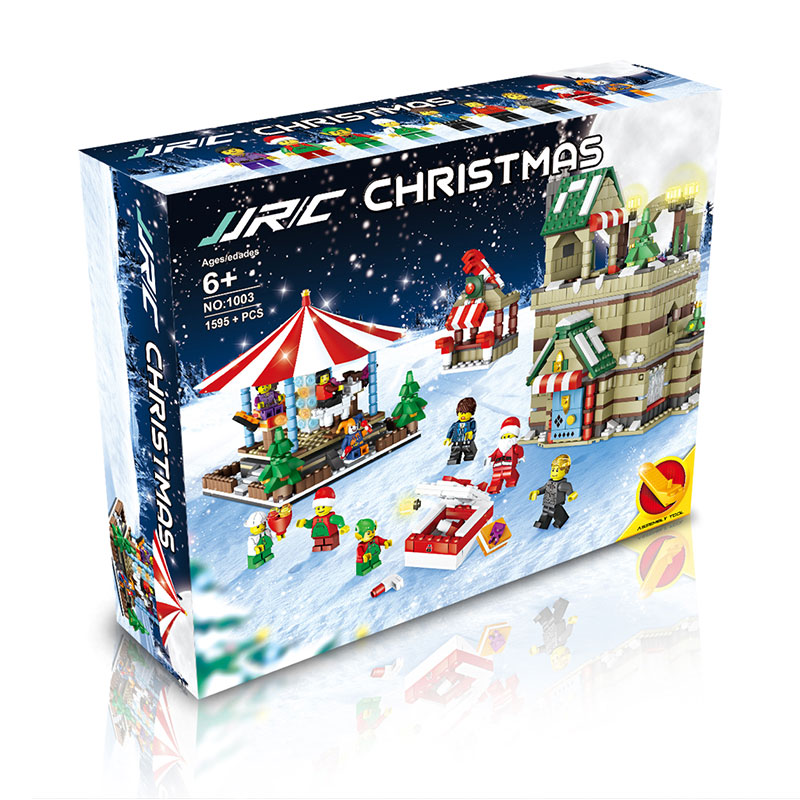 Christmas Construction Toy Educational Christmas Building Toy Display Decoration ABS Training Ability Merry Go Round цены