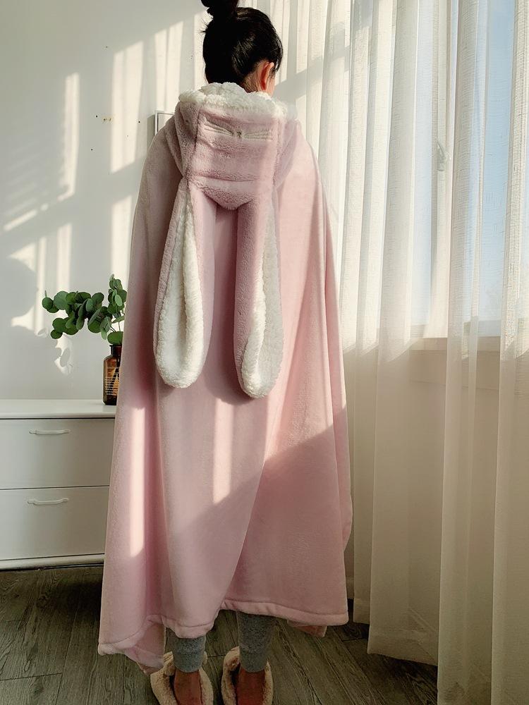 Cute Pink Comfy Blanket Sweatshirt Winter Warm Adults and Children Rabbit Ear Hooded Fleece Blanket Sleepwear Huge Bed Blankets 129