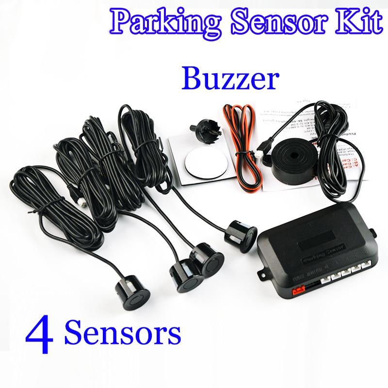 imágenes para 4 Sensores Zumbador 22mm Kit de Sensor de Aparcamiento de Coches Radar de Reserva Reverso de Alerta de Sonido Sistema de Sonda Indicador 12 V 8 colores