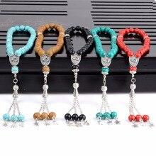 8mm Natuursteen Blauw Turkoois 33 Gebed Kralen Islamitische Moslim Tasbih Allah Mohammed Rozenkrans Voor Vrouwen Mannen Mode sieraden gift