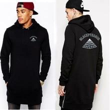 New Fashion letter print Hem Both sides zipper Lengthen hoodie sweatshirt Hip Hop streetwear sweat homme black Hoodies Men