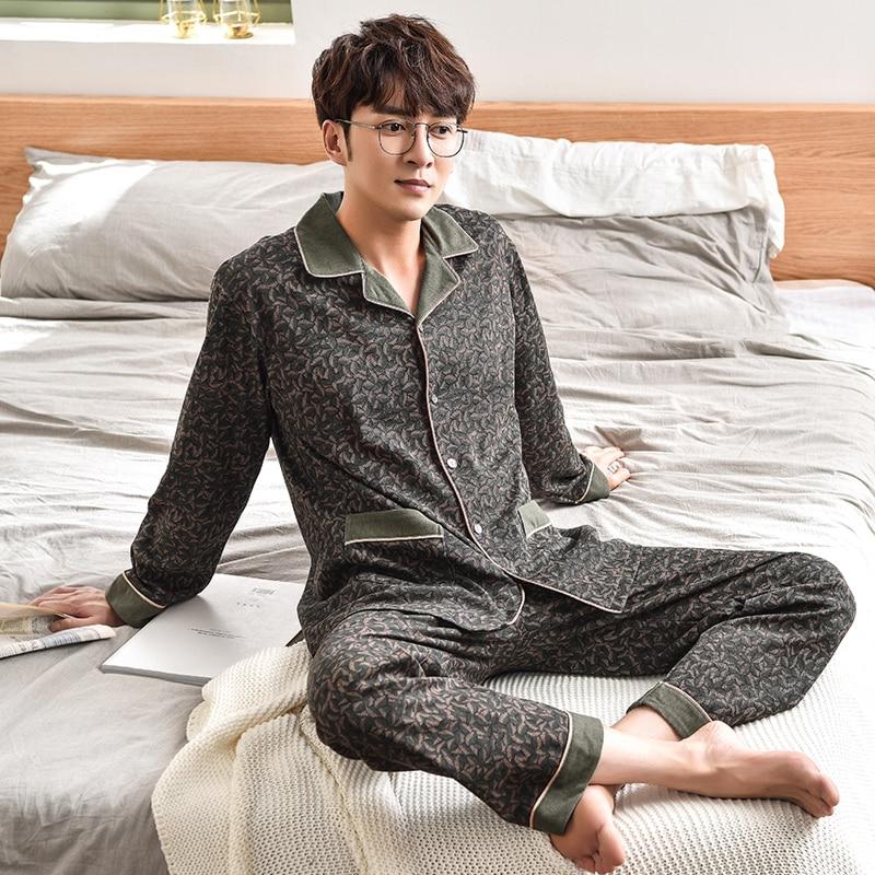 High Quality Army Green Color Men Pajamas Sleepwear Long-Sleeved 100% Cotton Nightwear Soft Spring Autumn Pyjamas Plus Size XXXL