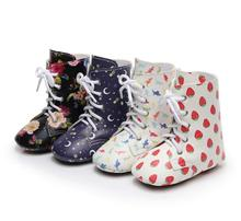 ФОТО newest fashion pu leather baby girls shoes floral boot infant toddler lace up boots casual first walker anti-slip autumn