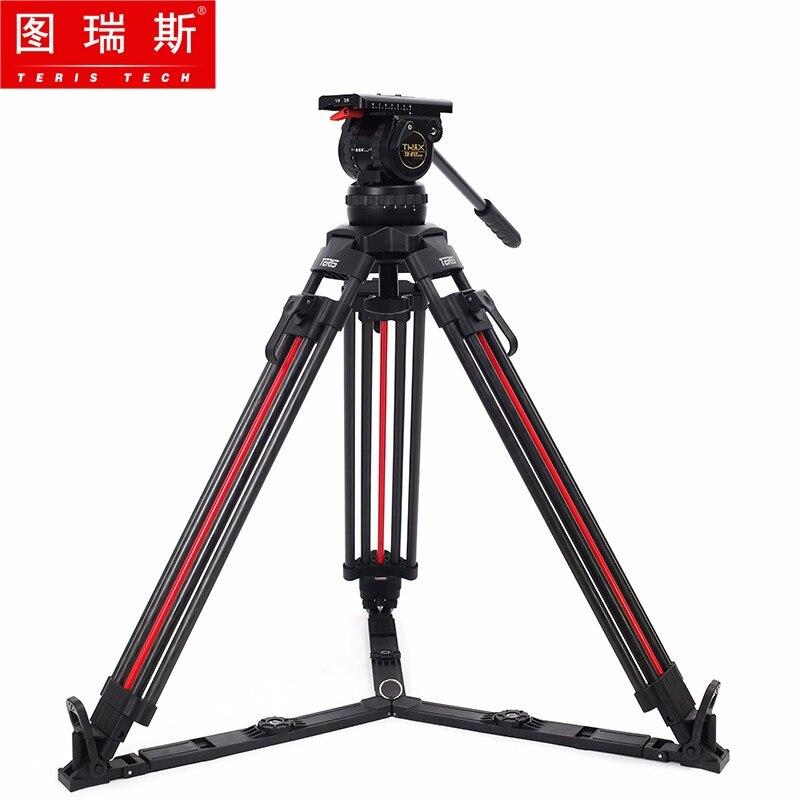 TERIS TRIX TX-V12T-PLUS-Q de fibra de carbono Kit de trípode de cámara de vídeo cabezal fluido 12KG trípode profesional de bloqueo rápido para cámara de película