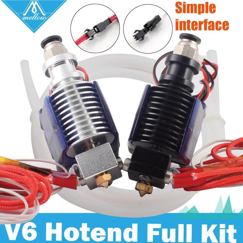 Envío gratuito suave 3D piezas de la impresora 12 V 24 V E3D V6 salida Hotend tubo de teflón Kit 0,4/1,75mm J-La remoto extrusora con ventilador de refrigeración