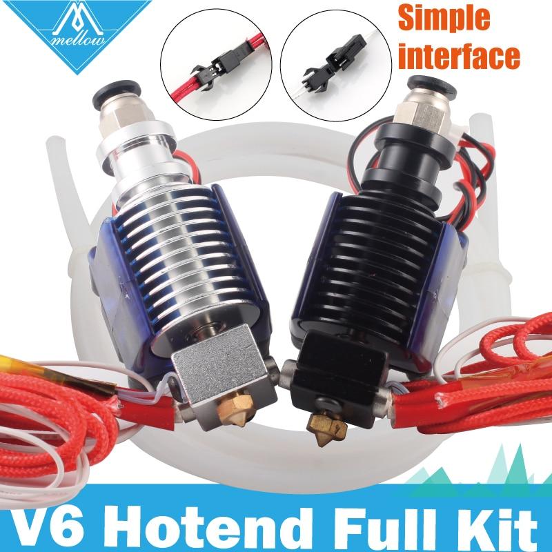 Free Shipping Mellow 3D Printer Parts 12V 24V E3D V6 Hotend Teflon Tube Kit 0.4/1.75MM J-head Remote Extruder With Cooling Fan