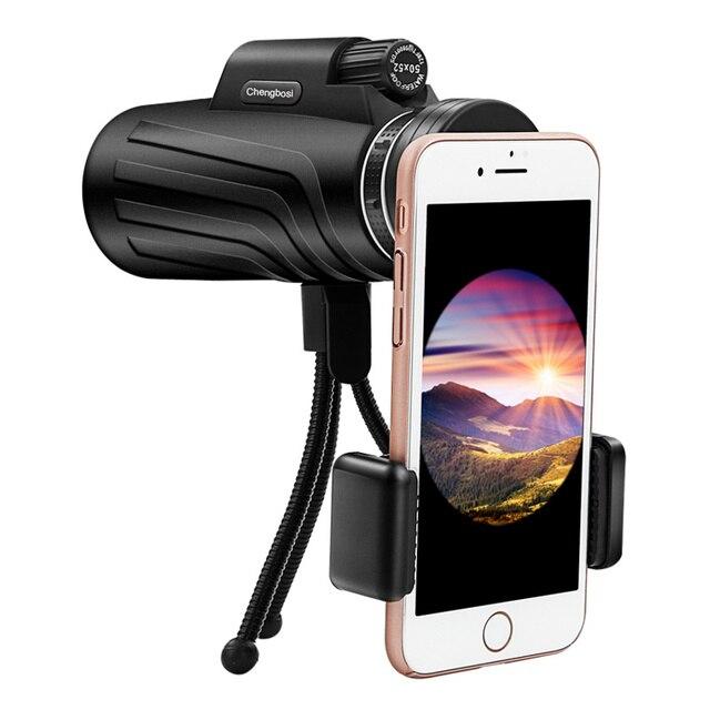 50x52 Zoom Monoculaire Telescoop Scope voor Smartphone Camera Camping Wandelen Vissen met Kompas Telefoon Clip Statief Gift