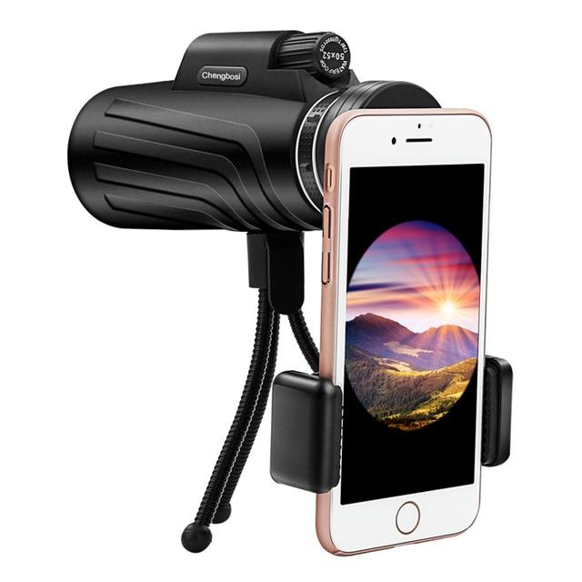 50x52 줌 단안 망원경 범위 스마트 폰 카메라 캠핑 하이킹 낚시 나침반 전화 클립 삼각대 선물