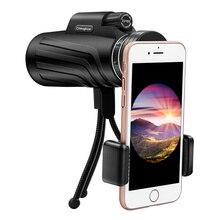 Telescopio Monocular con Zoom de 50x52 para teléfono inteligente, cámara, Camping, senderismo, pesca con brújula, Clip para teléfono, trípode de regalo